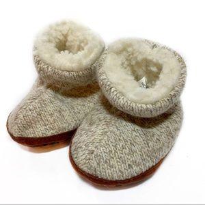 Baby Acorn Knit Beige Cream Slipper Shoe 0-6 month